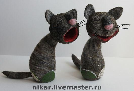 """Игрушки животные, ручной работы. Ярмарка Мастеров - ручная работа. Купить Коты """"Мартовские"""" валянные из шерсти. Handmade. Кот"""