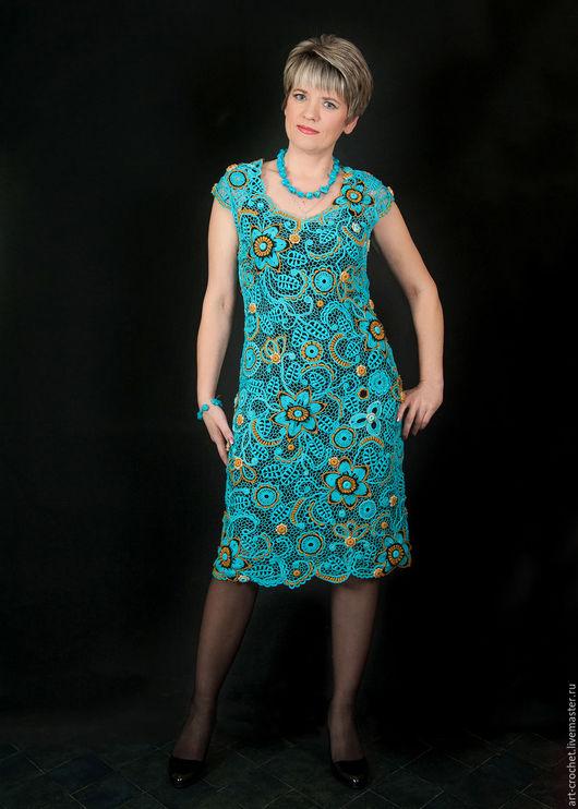 """Платья ручной работы. Ярмарка Мастеров - ручная работа. Купить платье  """"Солнце в бирюзе"""". Handmade. Бирюзовый, платье летнее"""