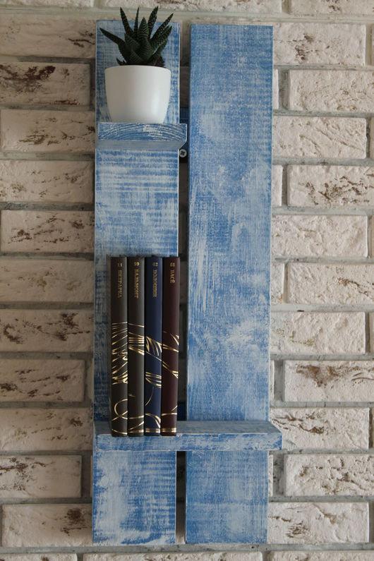 Мебель ручной работы. Ярмарка Мастеров - ручная работа. Купить Декоративная полка, настенная. Handmade. Комбинированный, шебби-шик, синий