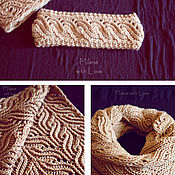 Аксессуары handmade. Livemaster - original item Crochet Apricot set, knitted scarf and bandage.. Handmade.