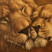 Pictures handmade. Livemaster - original item Lions couple portrait original oil painting Large canvas. Handmade.