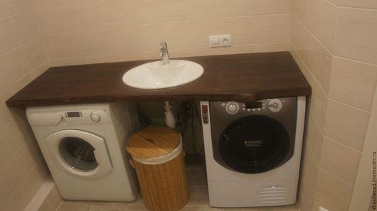 Ванная комната ручной работы. Ярмарка Мастеров - ручная работа. Купить Консоль (дуб+раковина). Handmade. Коричневый, лак акриловый