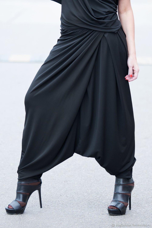 Black trousers with a low step seam - PA0661JE, Pants, Sofia,  Фото №1