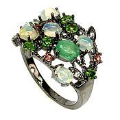Украшения handmade. Livemaster - original item Silver ring with emerald and opals, p. .17,25. Handmade.
