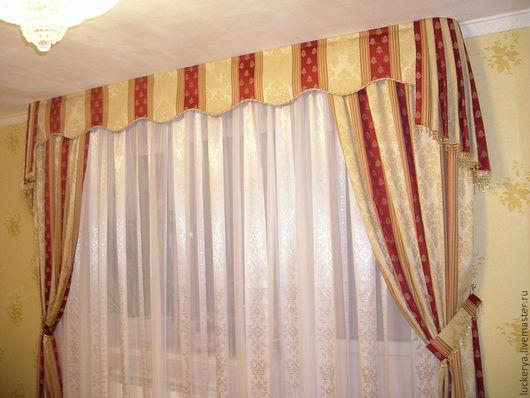Текстиль, ковры ручной работы. Ярмарка Мастеров - ручная работа. Купить Комплект штор для гостиной. Handmade. Портьеры, ламбрекен, бахрома