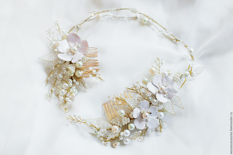 Flower headband Wedding flower crown White flower crown Wedding wreath.  Vesnaccessories. Online d49cc3f42c3