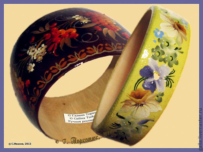 Роспись деревянных браслетов