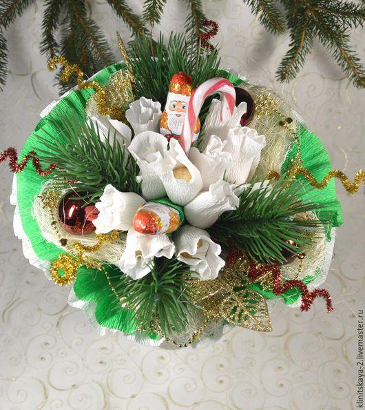 Букеты ручной работы. Ярмарка Мастеров - ручная работа. Купить Букет из конфет новогодний. Handmade. Белый, Новый Год, сизаль