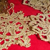 Подарки к праздникам handmade. Livemaster - original item Set of Golden snowflakes knitted Xmas. Handmade.