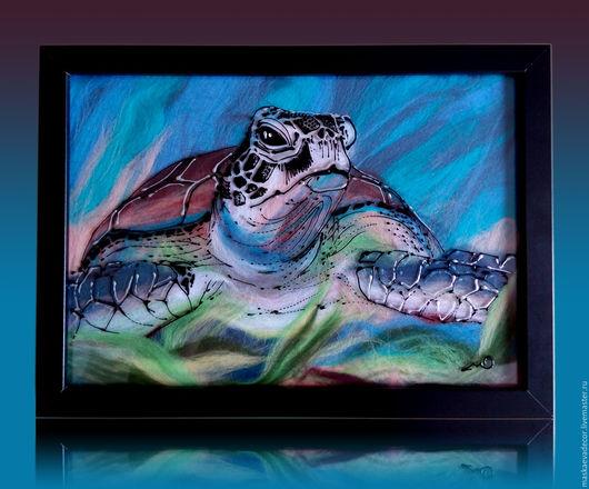 Животные ручной работы. Ярмарка Мастеров - ручная работа. Купить картина Морская черепаха.      Шерсть, hot-to-point 21 х 30 см. Handmade.