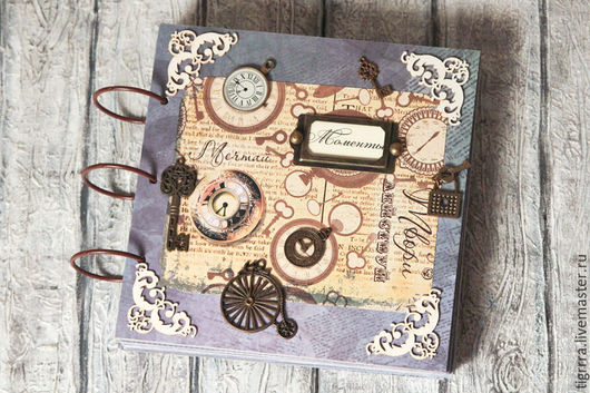 """Фотоальбомы ручной работы. Ярмарка Мастеров - ручная работа. Купить Фотоальбом """"Часы"""" (подарок, мужчине). Handmade. Тёмно-синий, Скрапбукинг"""