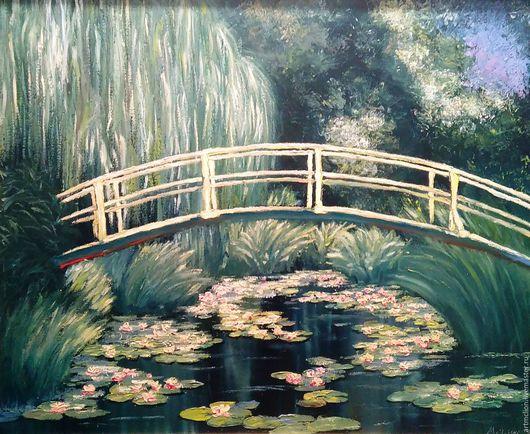 Пейзаж ручной работы. Ярмарка Мастеров - ручная работа. Купить Японский мостик из сада Монэ. Handmade. Тёмно-зелёный