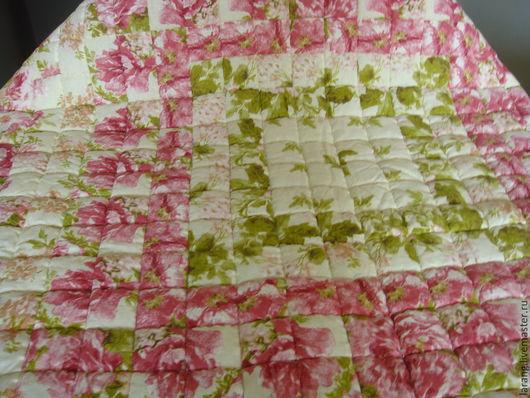 Пледы и одеяла ручной работы. Ярмарка Мастеров - ручная работа. Купить Лоскутное одеяло - Розы для принцессы.. Handmade. Розовый