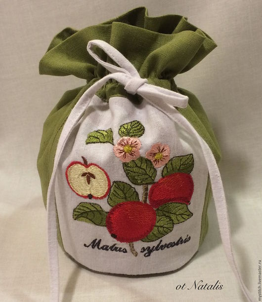 """Кухня ручной работы. Ярмарка Мастеров - ручная работа. Купить Льняной мешочек """"Яблоня лесная"""" Villeroy & Boch French Garden. Handmade."""