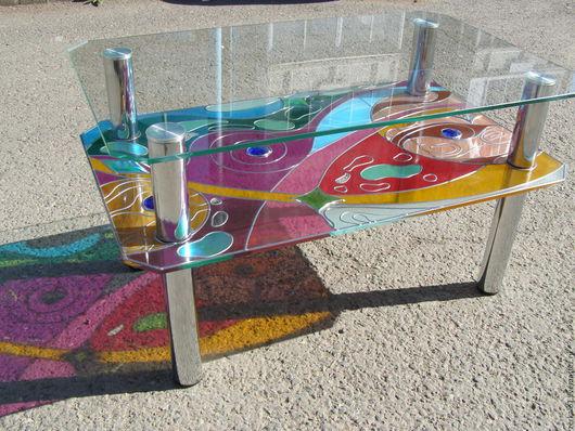 """Мебель ручной работы. Ярмарка Мастеров - ручная работа. Купить Стеклянный столик """"Млечный путь"""". Handmade. Комбинированный, абстракция"""