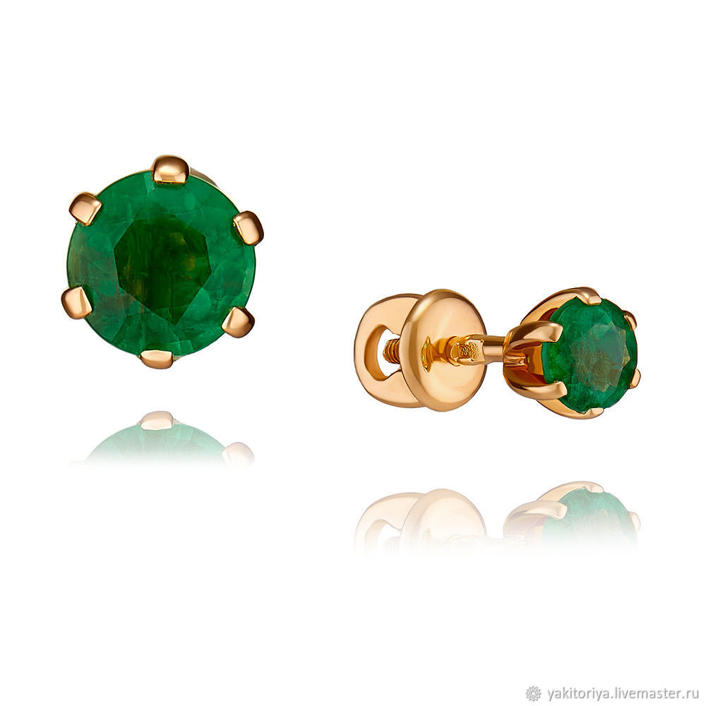 Gold poussettes with natural emeralds, Stud earrings, Moscow,  Фото №1