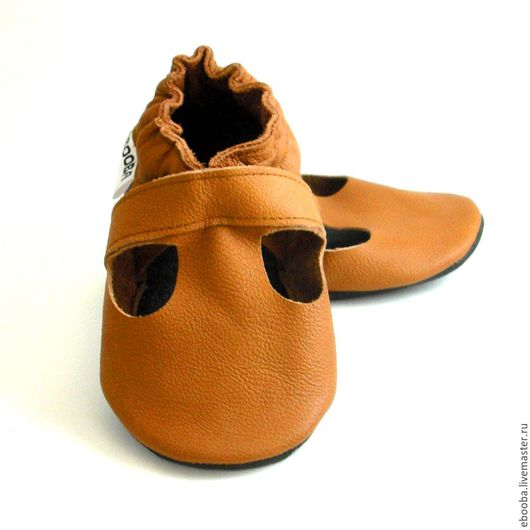 Кожаные чешки тапочки пинетки сандалики коричневые ebooba