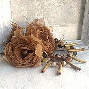 Украшения handmade. Livemaster - original item Bracelet with brown stones and handmade flowers. Handmade.