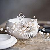 Украшения в прическу ручной работы. Ярмарка Мастеров - ручная работа Среднего размера гребень для свадебной прически с натуральным жемчугом. Handmade.