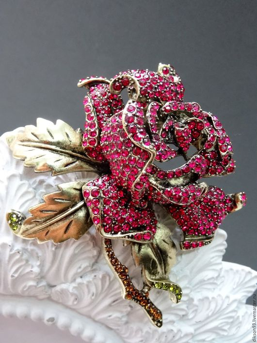 """Винтажные украшения. Ярмарка Мастеров - ручная работа. Купить Брошь """"Элегантная Роза"""" Heidi Daus. Handmade. Heidi daus"""