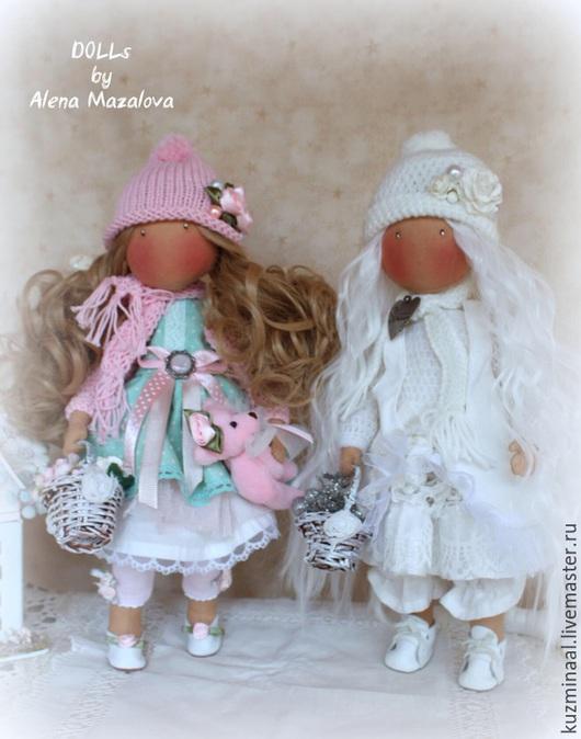 Человечки ручной работы. Ярмарка Мастеров - ручная работа. Купить РОЗОЧКА и БЕЛЯНОЧКА интерьерные куколки. Handmade. Бледно-розовый