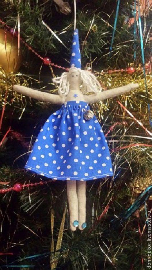 Куклы Тильды ручной работы. Ярмарка Мастеров - ручная работа. Купить Тильда синяя фея. Handmade. Синий, горохи
