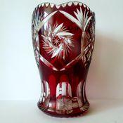 Винтаж handmade. Livemaster - original item Vase Cup red double layer glass.Meyrs Neffe. Handmade.