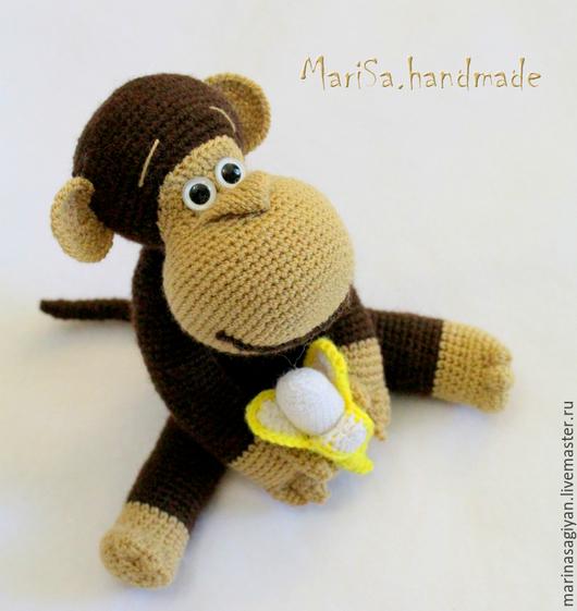 Игрушки животные, ручной работы. Ярмарка Мастеров - ручная работа. Купить Обезьяна с бананом. Handmade. Коричневый, забавная игрушка
