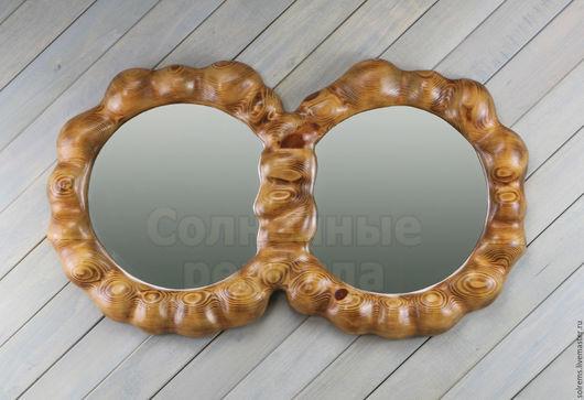 Зеркала ручной работы. Ярмарка Мастеров - ручная работа. Купить Зеркало в деревянной раме из массива дерева Два кольца. Handmade.