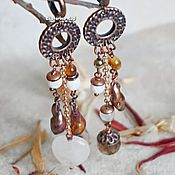 Украшения handmade. Livemaster - original item Boho style earrings with Pearl petals stones