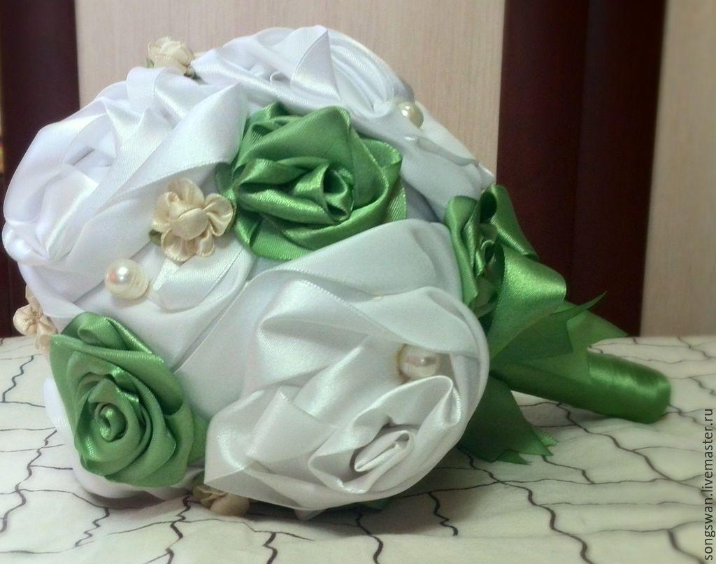 Невесты чайный, букет из атласных лент купить в украине