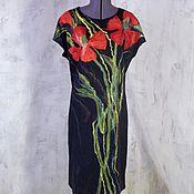 Одежда ручной работы. Ярмарка Мастеров - ручная работа Платье валяное Маки комбинированное трикотажем. Handmade.