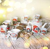 Посуда handmade. Livemaster - original item Dogs - tea set (17 items). Handmade.