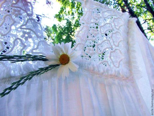 Платья ручной работы. Ярмарка Мастеров - ручная работа. Купить Длинное льняное платье-бохо. Handmade. Белое платье бохо