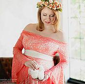 Одежда ручной работы. Ярмарка Мастеров - ручная работа Платье для беременных кружево коралл. Handmade.