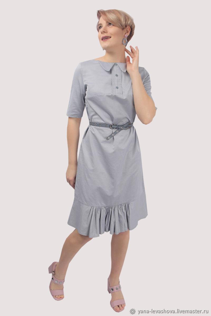 Платье рубашка голубое с оборкой, Платья, Москва,  Фото №1