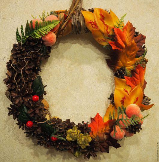 Декоративный венок Осенний. Украшение интерьера. Интерьерный венок. Подарок. Купить.