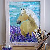Картины и панно handmade. Livemaster - original item Horse oil painting Lavender morning. Handmade.