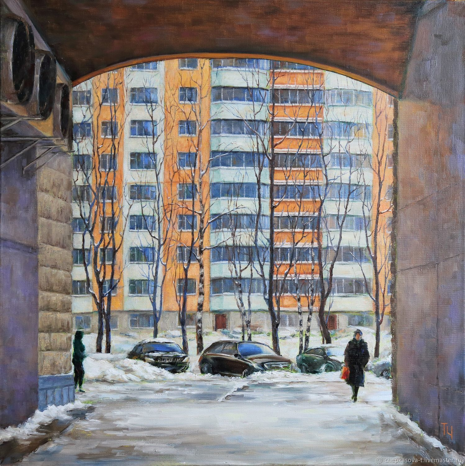 On the district. Arch on Glavmosstroya str., 7. Oil on canvas, Pictures, Moscow,  Фото №1