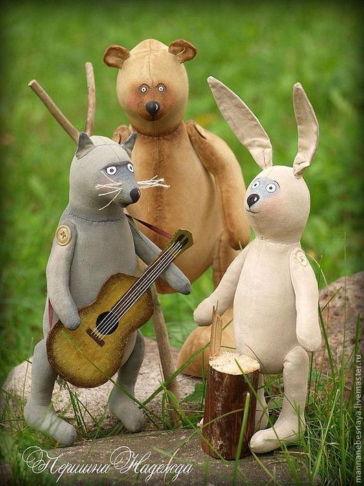 Ароматизированные куклы ручной работы. Ярмарка Мастеров - ручная работа. Купить Лесные музыканты. Медведь, волк и заяц. Ароматизированные Интерьерные. Handmade.