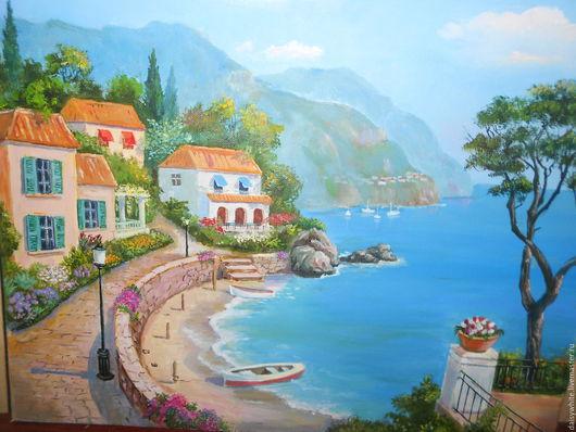 Пейзаж ручной работы. Ярмарка Мастеров - ручная работа. Купить средиземноморский пейзаж. Handmade. Средиземноморье, картина для интерьера, картина маслом