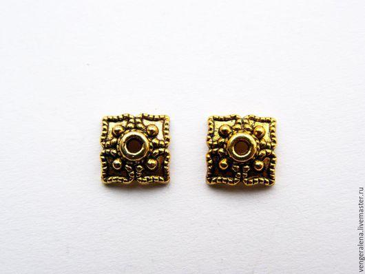 Для украшений ручной работы. Ярмарка Мастеров - ручная работа. Купить Шапочки обниматели для бусин 10 шт золотистый 8 мм. Handmade.