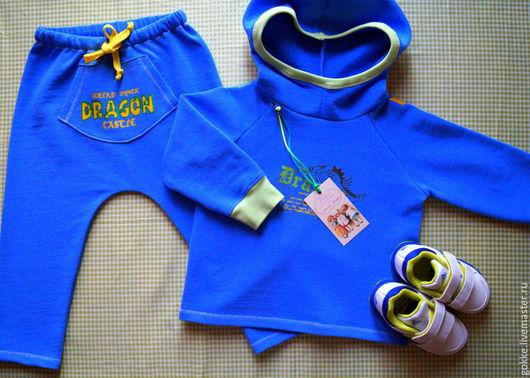 """Одежда для мальчиков, ручной работы. Ярмарка Мастеров - ручная работа. Купить Дуэт """"Драконы и рыцари"""". Handmade. Синий, футер"""