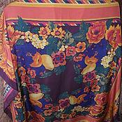 """Винтаж handmade. Livemaster - original item Платок """"Цветы и фрукты"""",винтаж Италия. Handmade."""