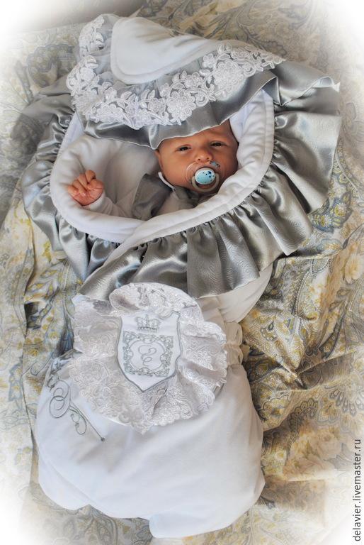 """Для новорожденных, ручной работы. Ярмарка Мастеров - ручная работа. Купить Зимнее/демисезонное/летнее одеяло-конверт на выписку """"Елисей"""". Handmade. Белый"""