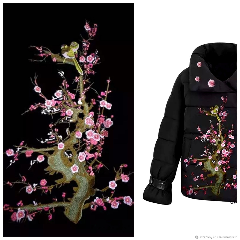 Аппликации, вставки, отделка ручной работы. Ярмарка Мастеров - ручная работа. Купить Аппликация Сакура в цвету, тренд 2019 года. Handmade.