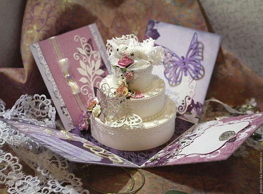Свадебные открытки ручной работы. Ярмарка Мастеров - ручная работа. Купить Коробочка для денежного подарка на свадьбу. Handmade. Сиреневый, ленты