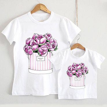 Одежда ручной работы. Ярмарка Мастеров - ручная работа Парные футболки для дочки и мамы с принтом. Handmade.