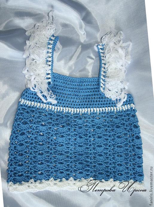 """Одежда для девочек, ручной работы. Ярмарка Мастеров - ручная работа. Купить Топ для девочки """"В синем море, в белой пене..."""". Handmade."""