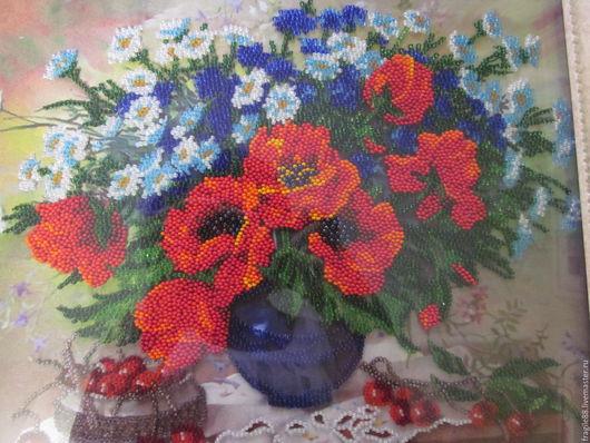 """Картины цветов ручной работы. Ярмарка Мастеров - ручная работа. Купить картина,вышитая бисером """"Летнее соцветие"""". Handmade. Комбинированный"""
